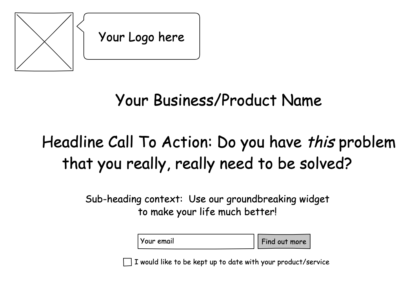Example of a ground-level landing page